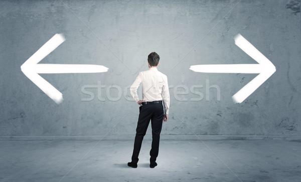 Stock fotó: Zavart · üzletember · választ · út · üzletember · kétség