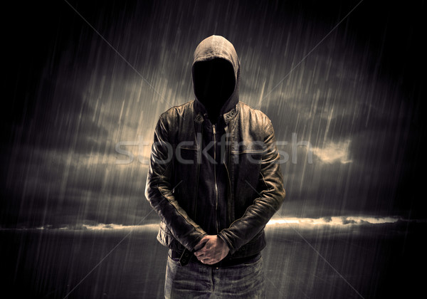 Anônimo terrorista noite ladrão irreconhecível em pé Foto stock © ra2studio