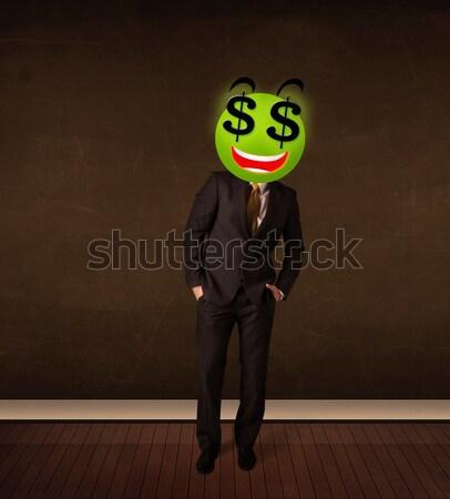 Mulher cifrão rosto sorridente empresária negócio dinheiro Foto stock © ra2studio