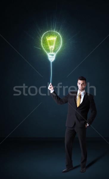 бизнесмен Идея лампа синий Сток-фото © ra2studio