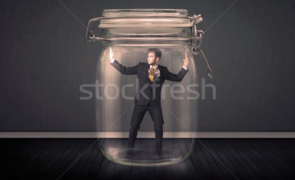Biznesmen uwięzione szkła jar człowiek przestrzeni Zdjęcia stock © ra2studio