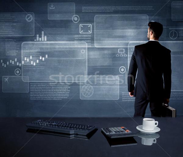 Empresário estratégia reunião trabalhador de escritório desenho Foto stock © ra2studio