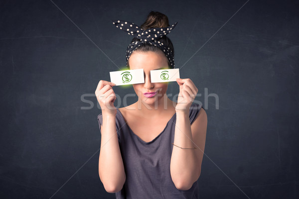 Junge Mädchen halten Papier grünen Dollarzeichen Gesicht Stock foto © ra2studio