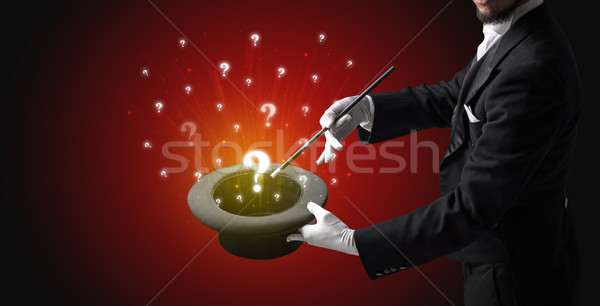 Goochelaar vraag borden cilinder witte handschoenen Stockfoto © ra2studio