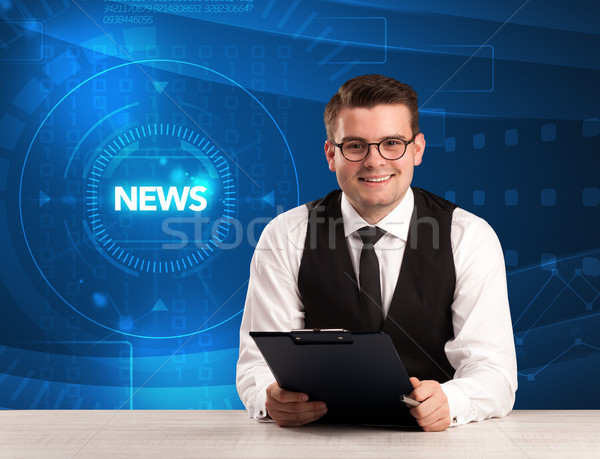 Modern televison presenter telling the news with tehnology background Stock photo © ra2studio