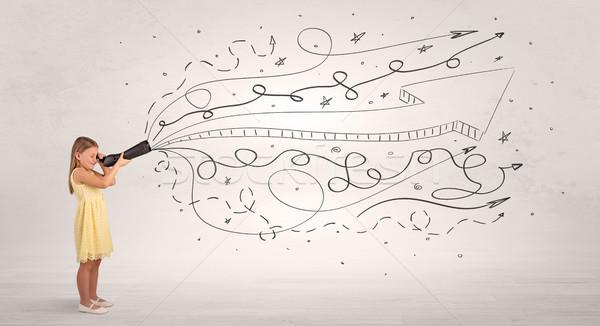 Kid looking in spyglass with doodles around Stock photo © ra2studio