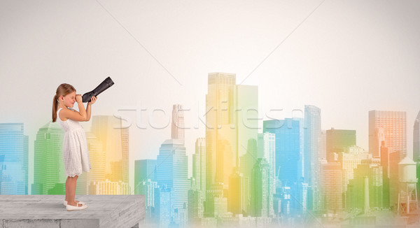 Cute little girl looking through spyglass to a big colourful city Stock photo © ra2studio