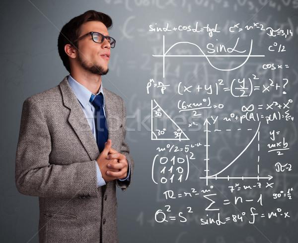 Przystojny myślenia kompleks matematyczny znaki Zdjęcia stock © ra2studio