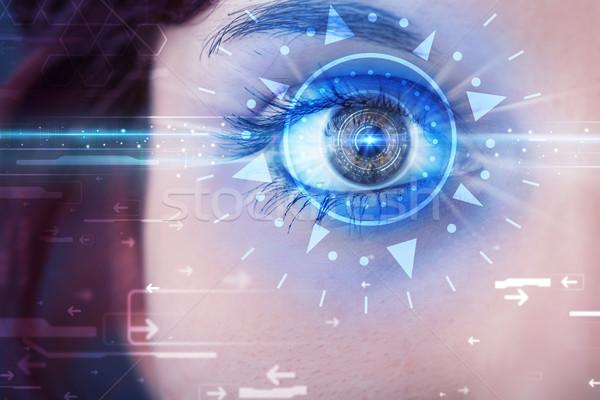 девушки глаза глядя синий Iris современных Сток-фото © ra2studio