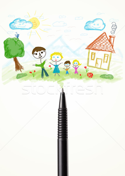Pen close-up with a drawing of a family Stock photo © ra2studio