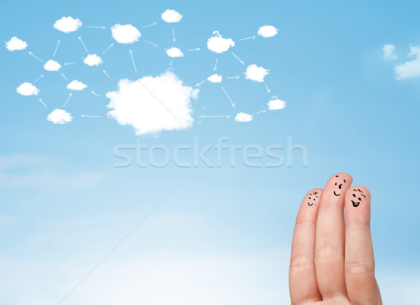 指 スマイリー クラウドネットワーク 顔 手 笑顔 ストックフォト © ra2studio