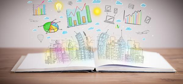 Dessin affaires livre coloré ordinateur Photo stock © ra2studio