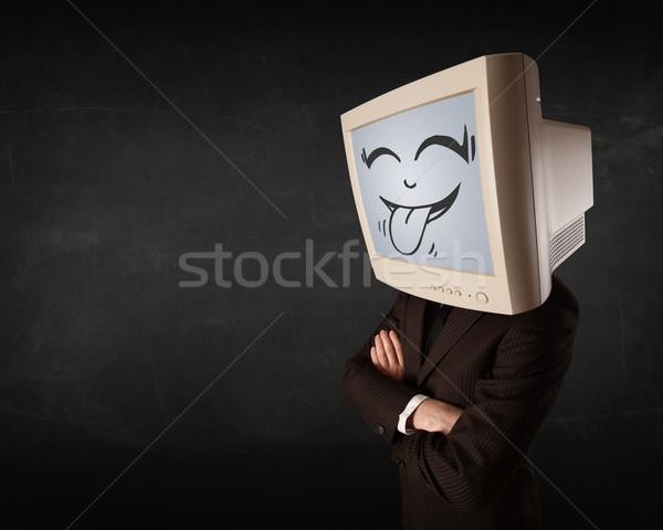 Mutlu iş adamı bilgisayar monitörü ekran gülümseme Stok fotoğraf © ra2studio