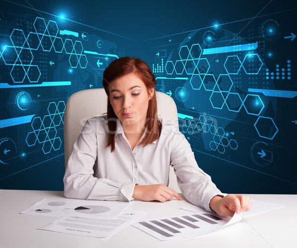 女性実業家 書類 未来的な 小さな オフィス 紙 ストックフォト © ra2studio