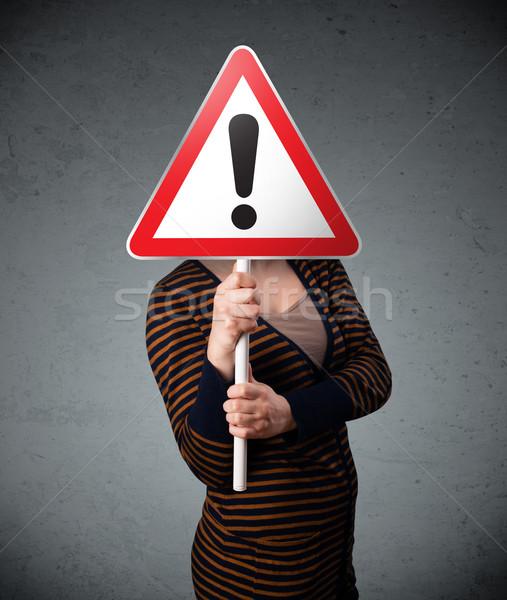 若い女性 道路標識 赤 トラフィック 三角形 ストックフォト © ra2studio