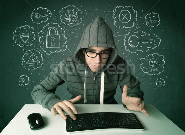 Jovem nerd vírus hackers pensamentos Foto stock © ra2studio