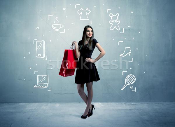 ショッピング 女性 袋 アイコン 美しい ストックフォト © ra2studio
