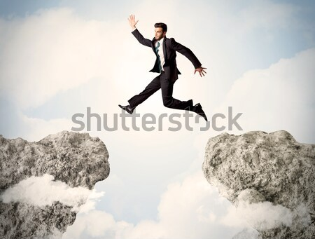 Businesswoman on rock mountain with a tree Stock photo © ra2studio