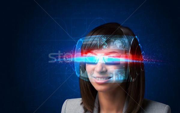 Zdjęcia stock: Przyszłości · kobieta · wysoki · tech · smart · okulary