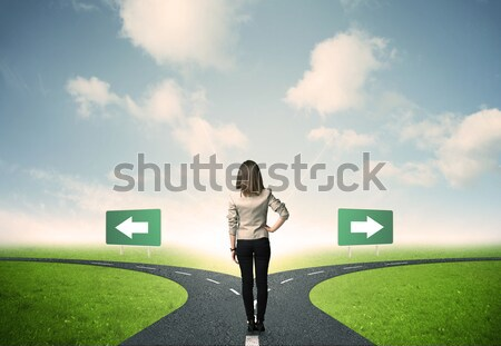 Businesswoman in front of a choice Stock photo © ra2studio