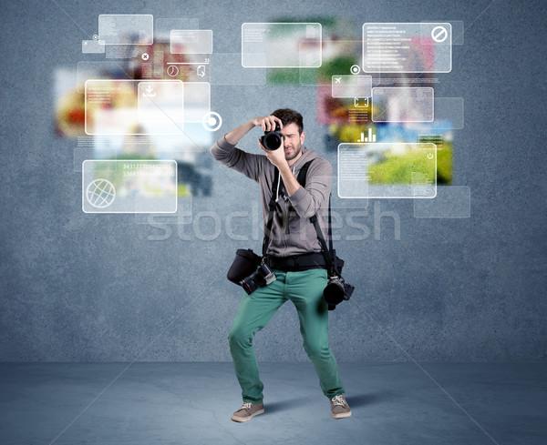 красивый фотограф камеры молодые профессиональных мужчины Сток-фото © ra2studio