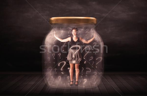 Geschäftsfrau verschlossen jar Fragezeichen Glas traurig Stock foto © ra2studio