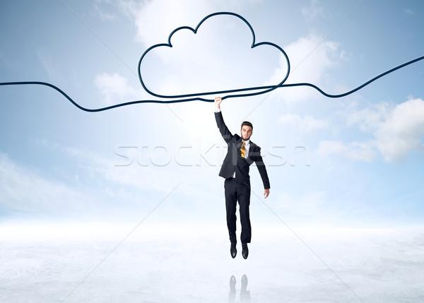 Stockfoto: Opknoping · zakenman · wolk · touw · man · ruimte