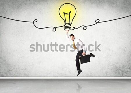 Stockfoto: Opknoping · zakenman · idee · lamp · hand · ruimte