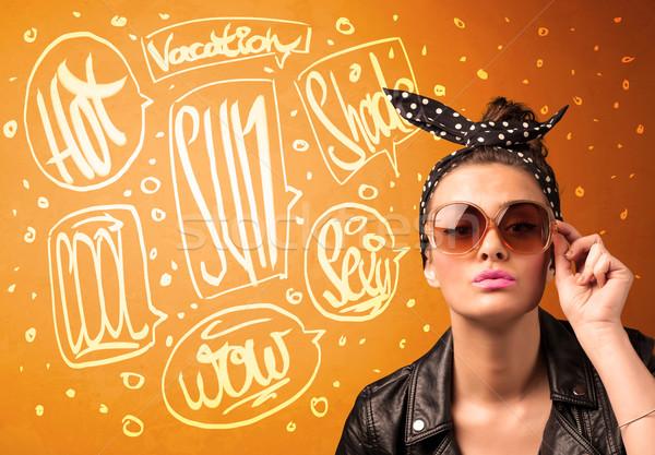 Hideg tinédzser nyár nap szemüveg vakáció Stock fotó © ra2studio