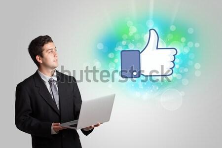 Genç kız gibi sosyal medya örnek teknoloji arka plan Stok fotoğraf © ra2studio
