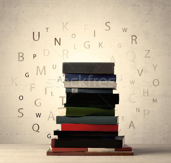 Photo stock: Livres · battant · lettres · vintage · vieux · papier