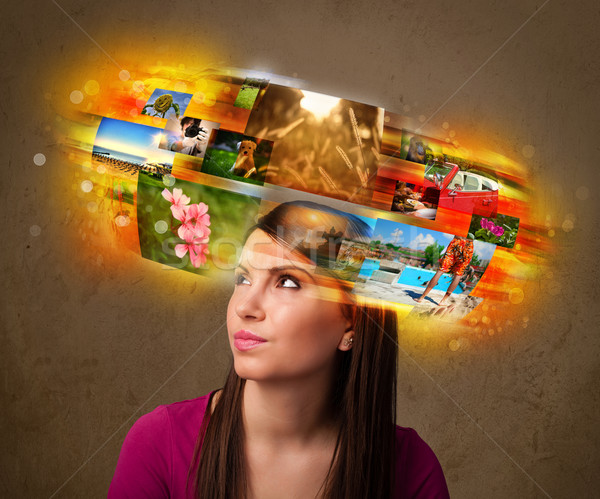 Lány színes izzó fotó emlékek aranyos Stock fotó © ra2studio