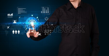 Knap zakenman aanraken toekomst web technologie Stockfoto © ra2studio