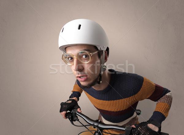 Louco ciclista vazio nerd jovem Foto stock © ra2studio
