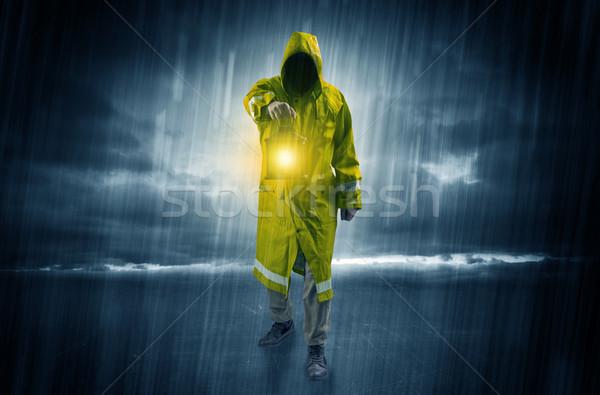 Adam yürüyüş fırtına fener el Stok fotoğraf © ra2studio