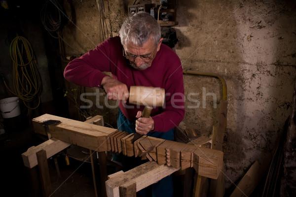 woodcarver work in the workshop 2 Stock photo © ra2studio