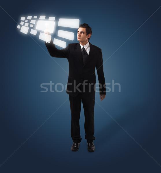 деловой человек кнопки футуристический цифровая технология Сток-фото © ra2studio