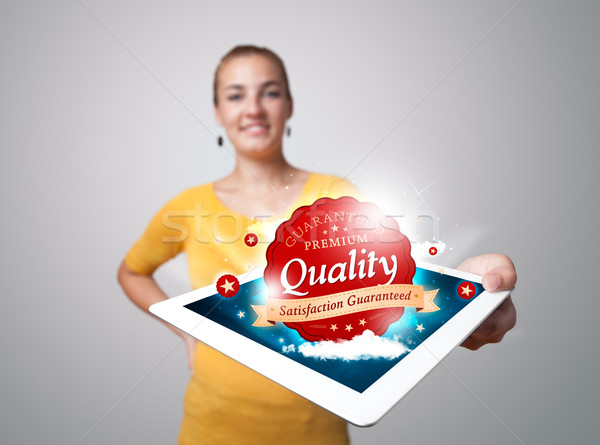 Stockfoto: Vrouw · tablet · Rood · kwaliteit · label