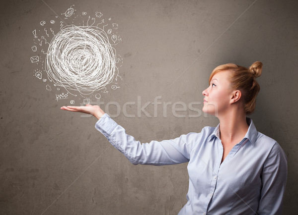 Chaos Hand Geschäftsfrau jungen halten Business Stock foto © ra2studio