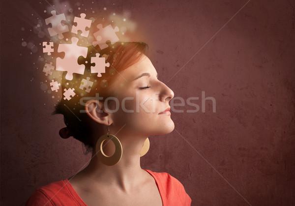 молодые человек мышления головоломки ума Сток-фото © ra2studio