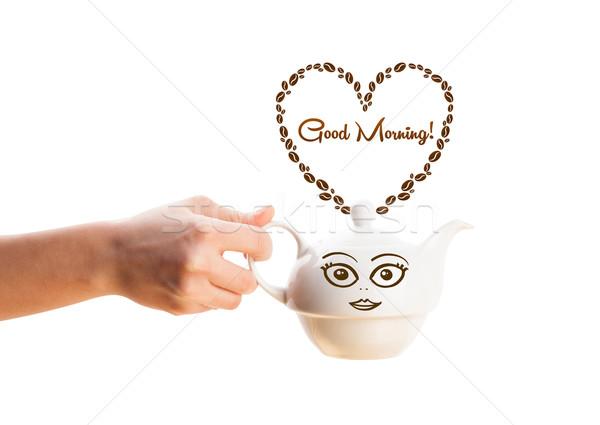 Kahve pot kahve çekirdekleri kalp sabah iyi Stok fotoğraf © ra2studio