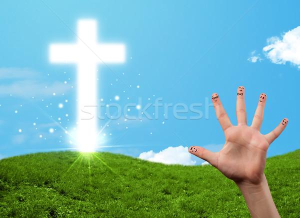 Heureux doigt smileys christian religion croix Photo stock © ra2studio