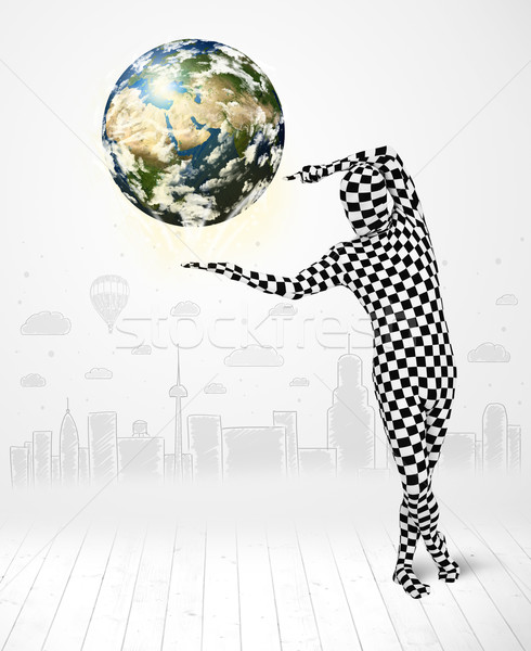 Hombre traje planeta tierra funny Foto stock © ra2studio
