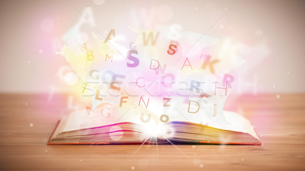 открытой книгой письма конкретные красочный образование Сток-фото © ra2studio