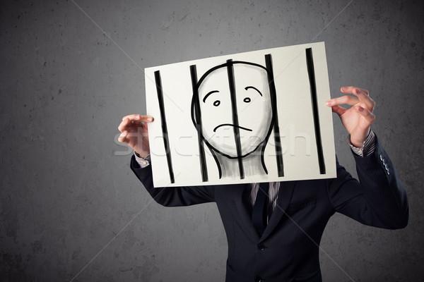 Affaires papier prisonnier derrière bars Photo stock © ra2studio
