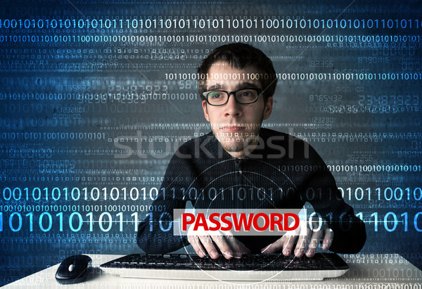 Genç geek hacker parola fütüristik Stok fotoğraf © ra2studio