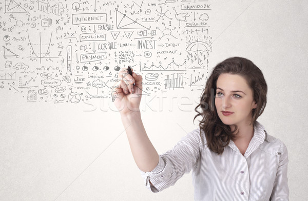 Young woman sketching and calculating thoughts Stock photo © ra2studio