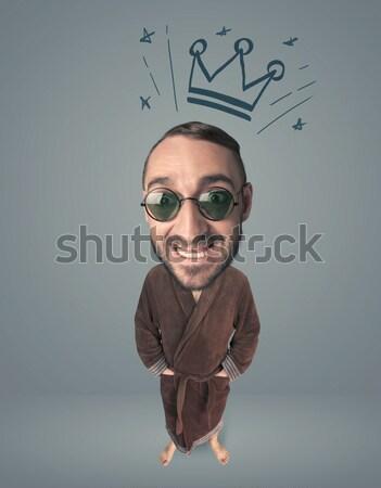 Big head person with crown Stock photo © ra2studio