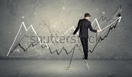 Adam merdiven çizim hatları erkek zarif Stok fotoğraf © ra2studio