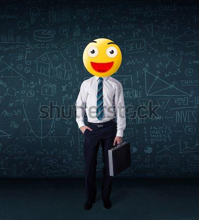 Stock fotó: üzletasszony · citromsárga · mosolygós · arc · vicces · üzlet · kéz